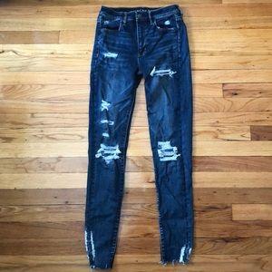 Dark wash destroyed super hi rise jeans